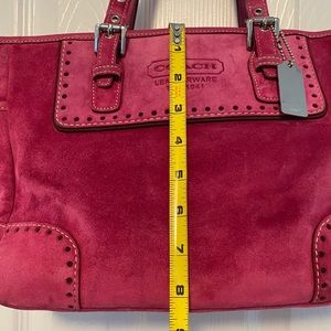 Pink suede coach Oxford detailed purse